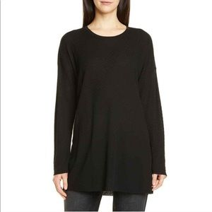 Eileen Fisher Round Neck Side Slits Tunic Black